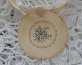 Hand Made Flower Petal Gift Tags, Wish Tags, Hang Tags, Thank You Tags, Scrapbook Journal Tags