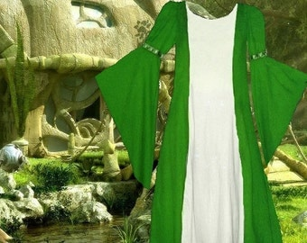 FREE SHIP Costume Gown Medieval Renaissance SCA Garb Heraldic KellyWhite Particolored 1pc lxl