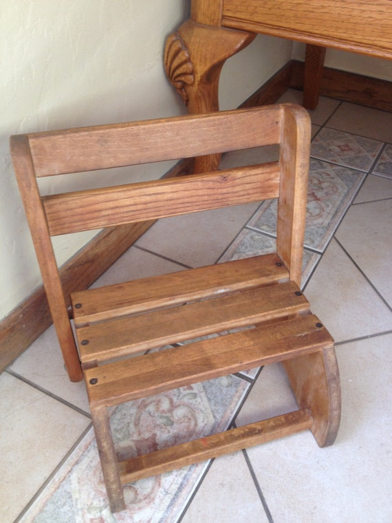 Wonderful Vintage Wooden Child S Step Stool Or Chair From