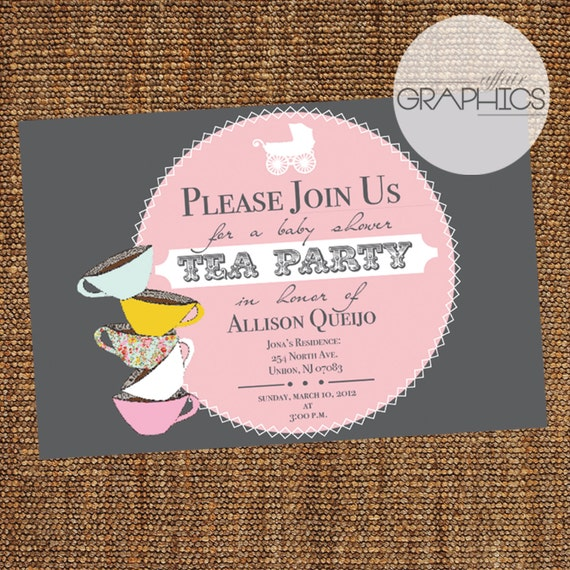 items similar to baby shower tea party theme invite on etsy