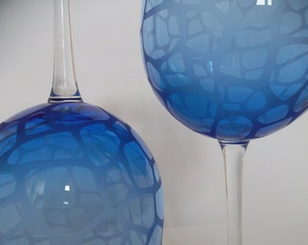 Etched wine glasses.  Cobalt blue glass, wedding gift, geometric, set of 2.