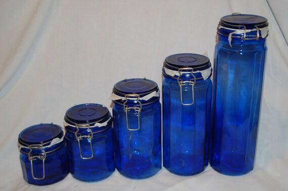 vintage cobalt blue canisters 5 peice set cobalt blue 3 piece artland kitchen canister set ebay