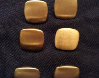 Vintage 1960s Set of Six Brushed Gold Square Sewing Buttons