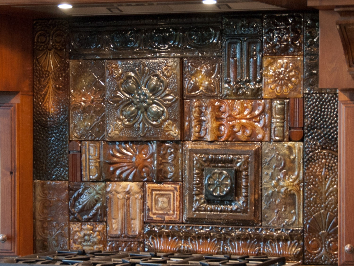 Hand glazed reclaimed vintage tin ceiling tile back splash zoom dailygadgetfo Gallery