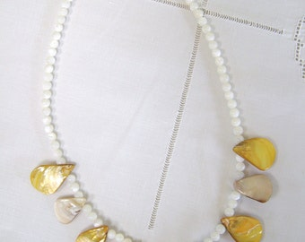 All Mother of Pearl Necklace in Yellow & White, 22 Inches