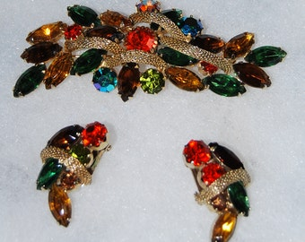 Signed kramer large brooch and earring set