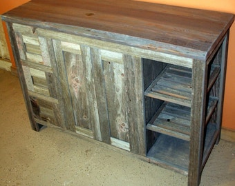 gray reclaimed wood bathroom vanity
