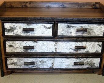 PINE DRESSER - ADIRONDACK Birch Bark Dresser