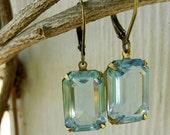 Estate Style Vintage Swarovski Pale Sapphire Octogon Rhinestone Earrings. Wedding - Bridesmaid - Bridal