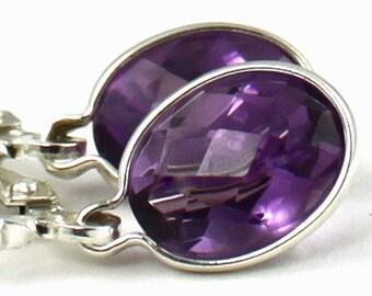 Amethyst, 925 Sterling Silver Leverback Earrings, SE001