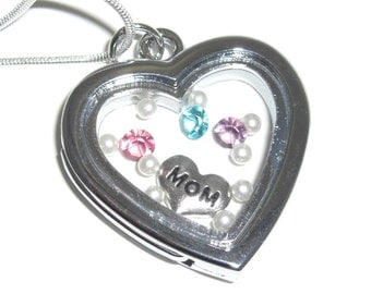 Floating Locket Charm Necklace  -  Total Mothers Day Gift Package