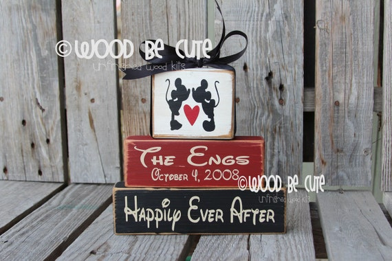 Items Similar To Unfinished Diy Wood Block Set Disney