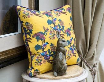 Golden Bunting Birds Cushion