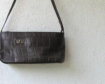 Brown leather bag, natural leather handbag, 90s,  lovely vintage gift