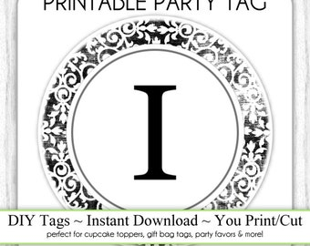 Instant Download - LETTER I, Damask Party Tag, Monogram Party Tag, Black & White Monogram, DIY Cupcake Topper, You Print, You Cut