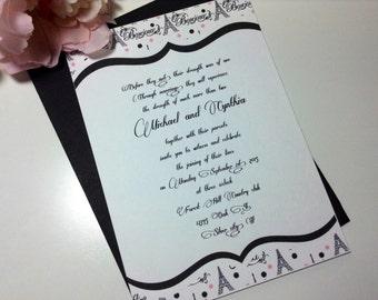 100 Wedding Invitations, invites Bonjour french White and black
