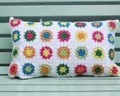 summery crochet granny square cushion cover - Anitareus