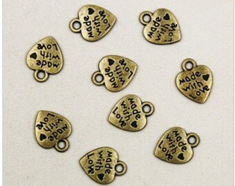 100pc Antique Bronze or gold  Mini Heart Made With Love Charm Pendants  10x12mm