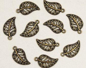 60 pcs antique bronze leaves charm pendant  10x17mm