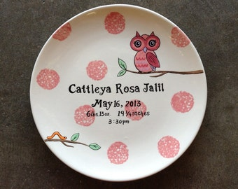 Personalized Hand Painted Birth Plate or Special Occasion Plate