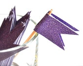 Purple Glitter Cupcake Toppers Flags Set of 12
