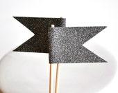 BLACK Glitter Cupcake Toppers Flag Set of 12 Halloween