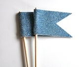 Blue Glitter Cupcake Toppers Flag Pennant Set of 8