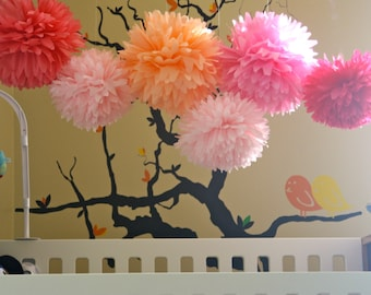 Pink Tissue Paper Pom Poms - Baby Shower Poms - Nursery - It's A Girl! Collection -  6 tissue poms - pink nursery decor - pink nursery art