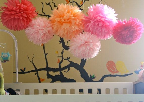 Pink tissue paper pom poms baby shower poms nursery for Pom pom room decor