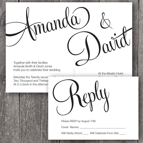 Cursive Wedding Invitations: Items Similar To DIY Printable Wedding Invitation And RSVP