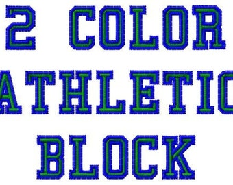 2 Color Athletic Machine Embroidery Fonts 1392