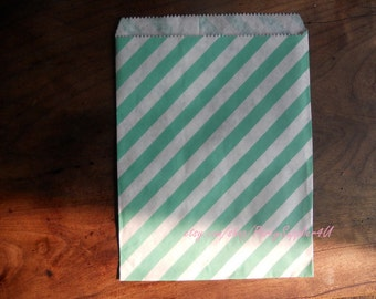 Favor Bags 50 Turquoise Green Stripes Paper Favor Bags-Paper Party Bags-Bridal Gift Bags-Wedding Favor Pouches-Medium Party Treat Bags