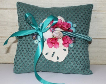 SALE! Wedding Ring Pillow - Teal - Beach - Caribbean Pink Flowers - Seashells - Sand Dollar - Beach Cottage