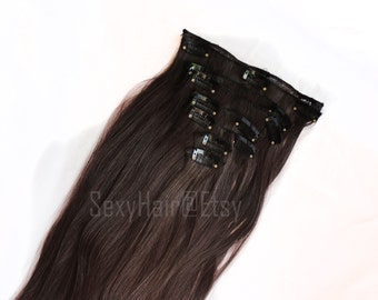 "24"" Medium Brown Hair Extension, Full Head Clip in Hair Extensions, Chocolate Brown,Thick Hair, 8 piece Set, Clip On Hair, Long Hair, Volume"