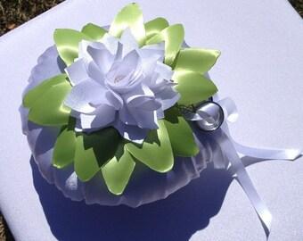 Unique Beach Wedding Ring Pillow white satin handmade rose,leaves