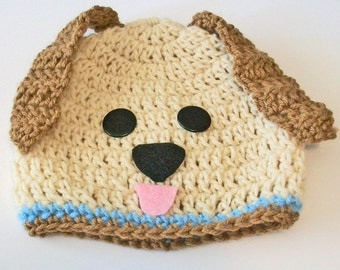 So Cute Tan Puppy Dog Hand Crocheted Baby and Childrens Hat Great Photo Prop 5 Sizes Available