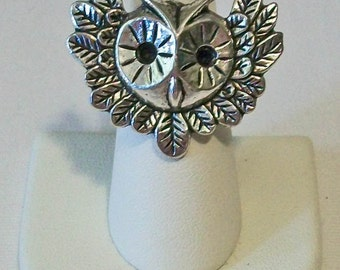 Trendy Aged Silver Owl With Wings Fashion Ring Adjustable Band
