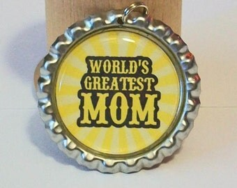 Bright Yellow World's Greatest Mom Flattened Bottlecap Pendant Necklace