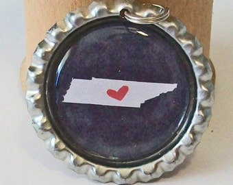 State Love Tennessee Silhouette All 50 States Available Flattened Bottlecap Pendant Necklace