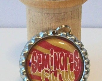 Garnet and Gold Zebra Stripe Seminoles Girl Florida State Inspired  Flattened Metal Bottlecap Pendant Necklace