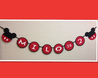 Mickey Mouse Birthday Decoration Banner - Personalized