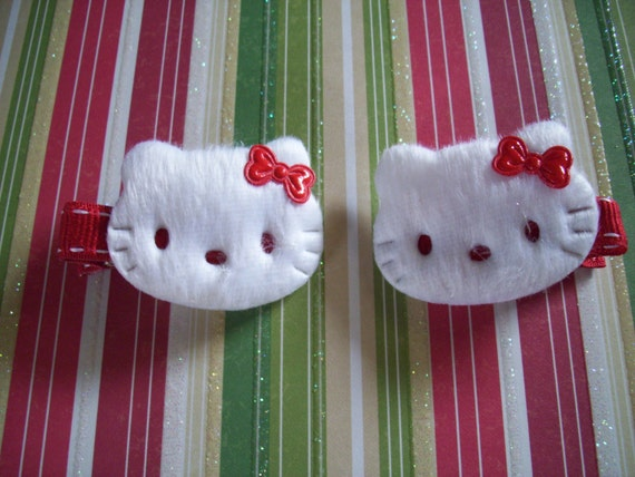 Hello Kitty White Soft Furry Hair Clips With Red Bows Girls Hair Accessories