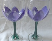 Hand Painted set of two Purple Tulip Wine or Champage Glasses - CreativePaintedBella