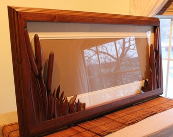 Hand Made Picture Frame, Nature Lovers Frame for Fine Art, Cat Tail Picture Frame Hand Carved by Scott, Lazy River Studio