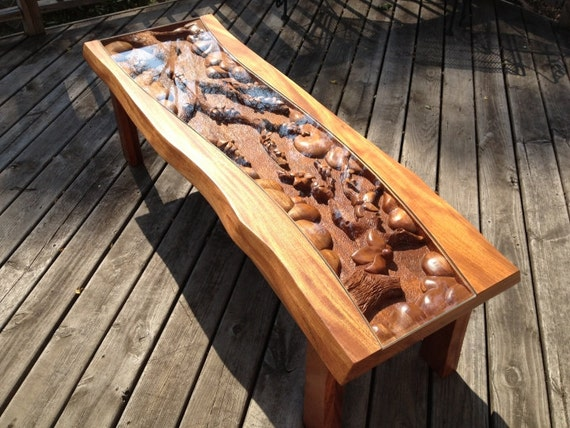 Mahogany Floral Coffee Table Rustic Blossom Tree Flower