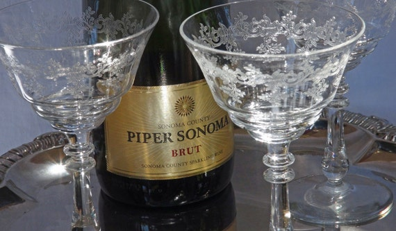 Etched Glass Champagne Coupe Saucers - Martini Cocktail Glasses - Hollywood Regency - Vintage Wedding - Set of 3