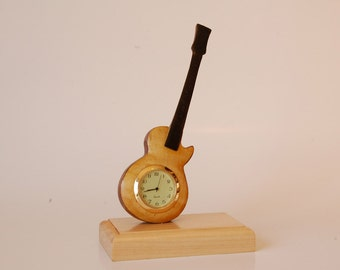 Handcrafted guitar desk clock