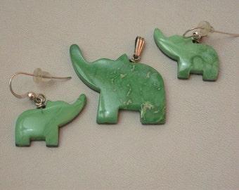 Green Elephant Pendant & Earring Set