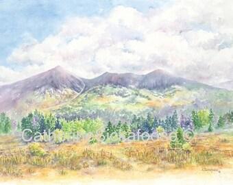 Mountains, Landscape,  Flagstaff, Arizona, WATERCOLOR PAINTING, fine art giclée, San Francisco Peaks.