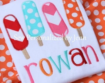 Girls Summer Popsicles Monogrammed Personalized Applique Shirt